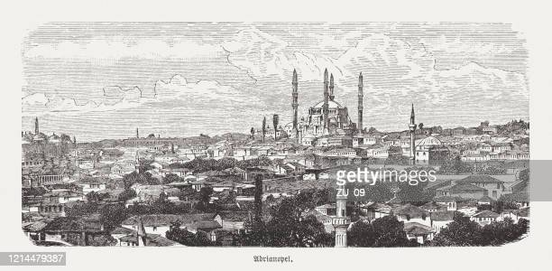 historical view of adrianople (edirne, turkey), wood engraving, published 1893 - selimiye mosque stock illustrations