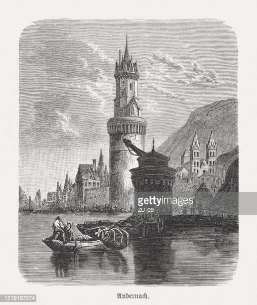 1893年、ドイツ、ラインラント=プファルツ州、インタレンヌ・プファルツ州、アンド・プファルツの歴史的眺め - ロマン主義点のイラスト素材/クリップアート素材/マンガ素材/アイコン素材