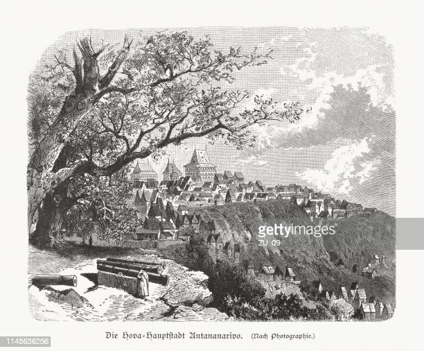 historical view of antananarivo, madagascar, wood engraving, published in 1897 - antananarivo stock illustrations, clip art, cartoons, & icons