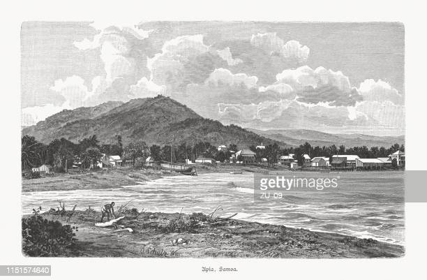 historical view of apia, samoa, wood engraving, published in 1897 - samoa stock illustrations