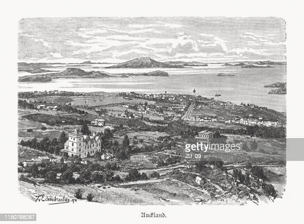 historical view of auckland, new zealand, wood engraving, published 1897 - history stock illustrations