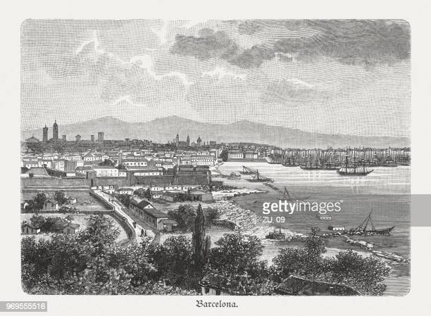 historical view of barcelona, catalonia, spain, wood engraving, published 1897 - barcelona stock illustrations, clip art, cartoons, & icons