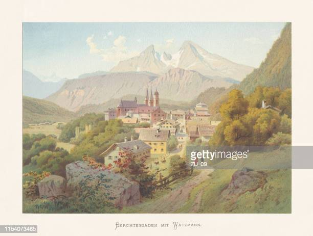 historical view of berchtesgaden, bavarian alps, germany, chromolithograph, published ca.1874 - berchtesgaden stock illustrations