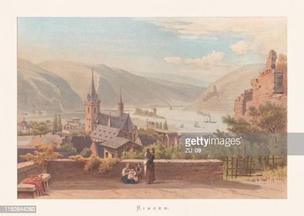bildbanksillustrationer, clip art samt tecknat material och ikoner med historiskt beskåda av bingen, rhineland-palatinate, tyskland, chromolithograph, publicerat ca. 1870 - västtyskland