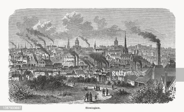 historical view of birmingham, england, wood engraving, published in 1893 - etching stock illustrations