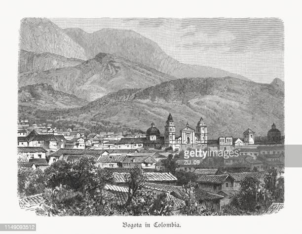 historical view of bogotá, colombia, wood engraving, published in 1897 - colombia stock illustrations
