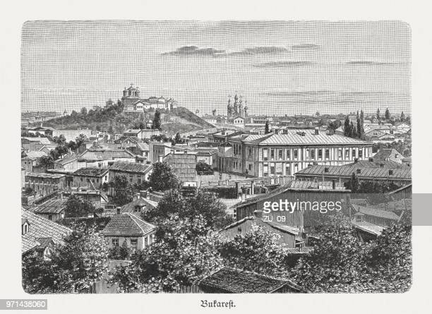 Historical view of Bucharest, Romania, wood engraving, published in 1897