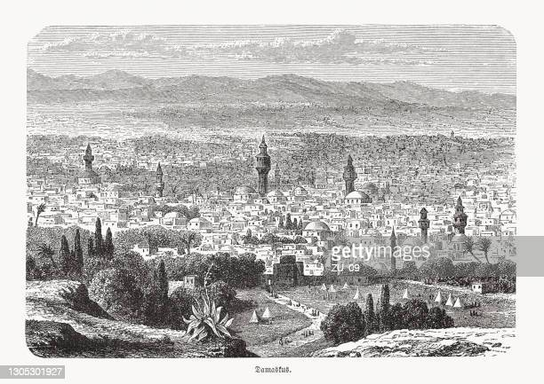 historical view of damascus, syria, wood engraving, published in 1893 - damascus stock illustrations