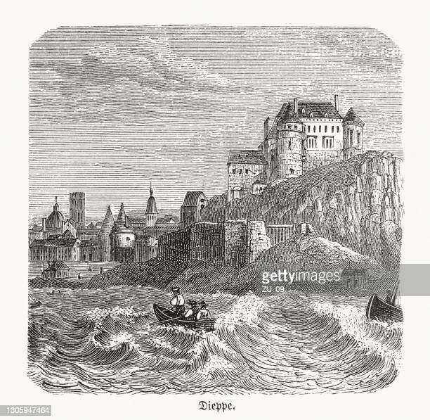 historical view of dieppe, normandy, france, wood engraving, published in 1893 - normandy stock illustrations