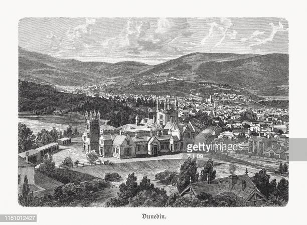 Historical view of Dunedin, New Zealand, wood engraving, published 1897