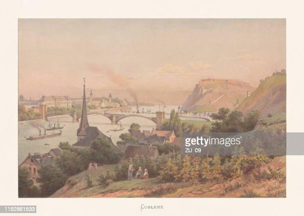 historischer blick auf koblenz, rheinland-pfalz, chromolithographie, erschienen um 1870 - fluss mosel stock-grafiken, -clipart, -cartoons und -symbole