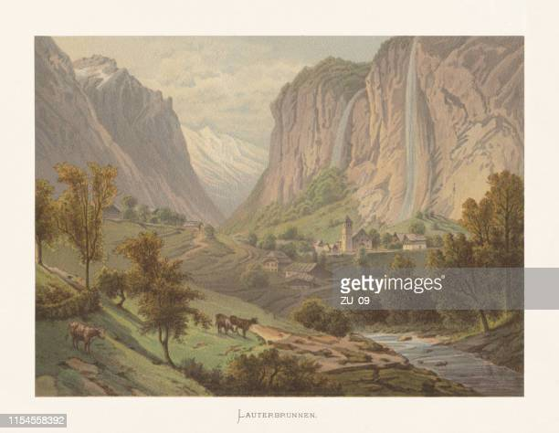 Historical view of Lauterbrunnen, Bernese Oberland, Switzerland, chromolithograph, published ca.1872