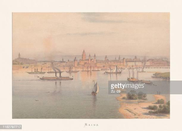 Historical view of Mainz, Rhineland-Palatinate, Germany, chromolithograph, published ca. 1870