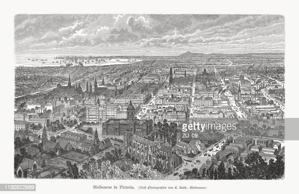 historical view of melbourne, victoria, australia, wood engraving, published 1897 - melbourne stock illustrations