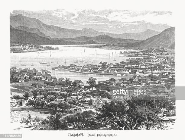 historical view of nagasaki in japan, wood engraving, published in 1897 - nagasaki city stock illustrations, clip art, cartoons, & icons