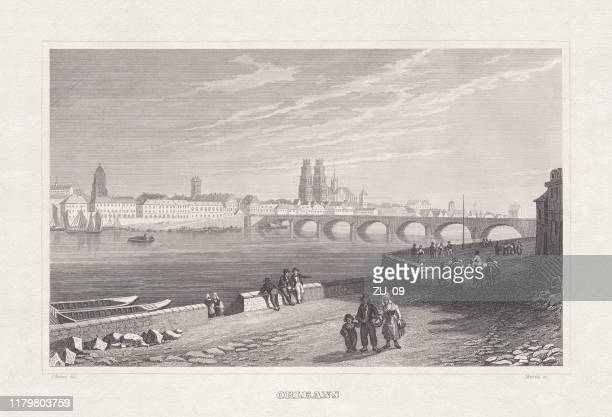 historical view of orléans, france, steel engraving, published in 1860 - loire valley stock illustrations, clip art, cartoons, & icons