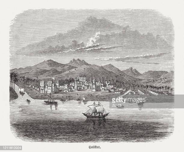 historical view of the indian city kozhikode (calicut), 16th century - traditionally portuguese stock illustrations