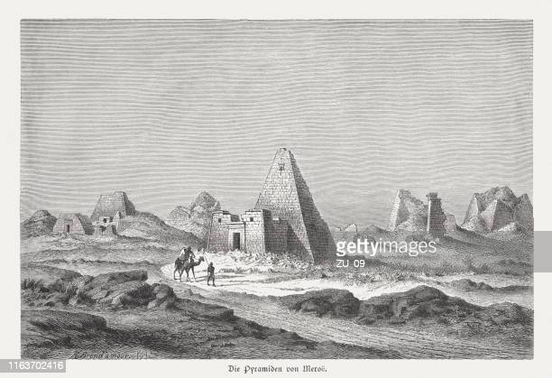 historical view of the nubian pyramids of meroë, published 1879 - nubia stock illustrations, clip art, cartoons, & icons