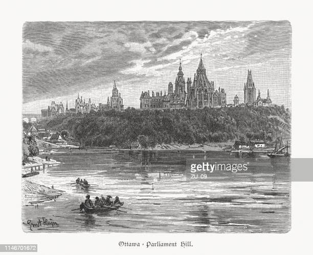 Historical view of the Parliament Hill, Ottawa, Canada, woodcut 1897