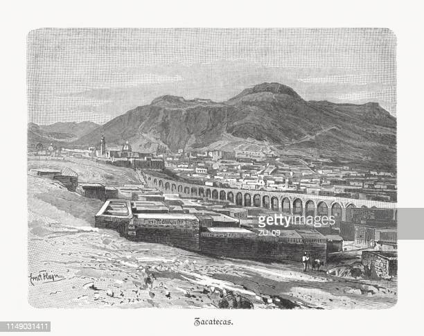 historical view of zacatecas in mexico, wood engraving, published 1897 - aqueduct stock illustrations, clip art, cartoons, & icons