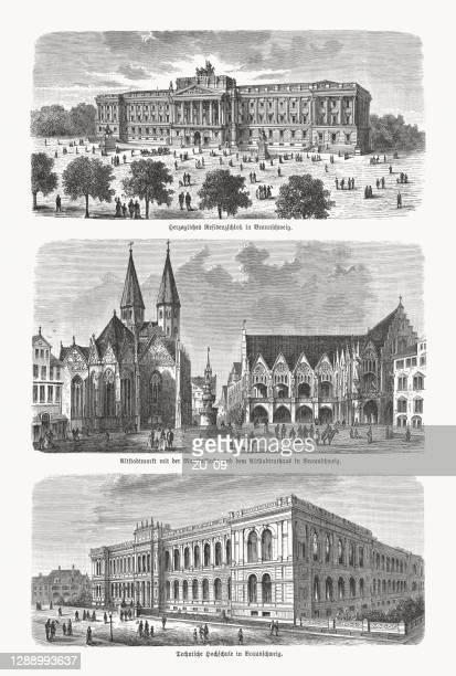 ilustrações de stock, clip art, desenhos animados e ícones de historical views of braunschweig, lower saxony, germany, woodcuts, published 1893 - patio de colegio