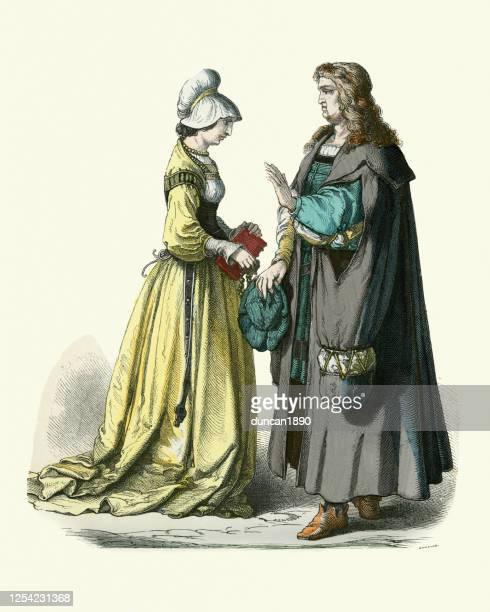 歴史ファッション、時代衣装、16世紀ドイツ、ドイツのカップル - 16世紀のスタイル点のイラスト素材/クリップアート素材/マンガ素材/アイコン素材