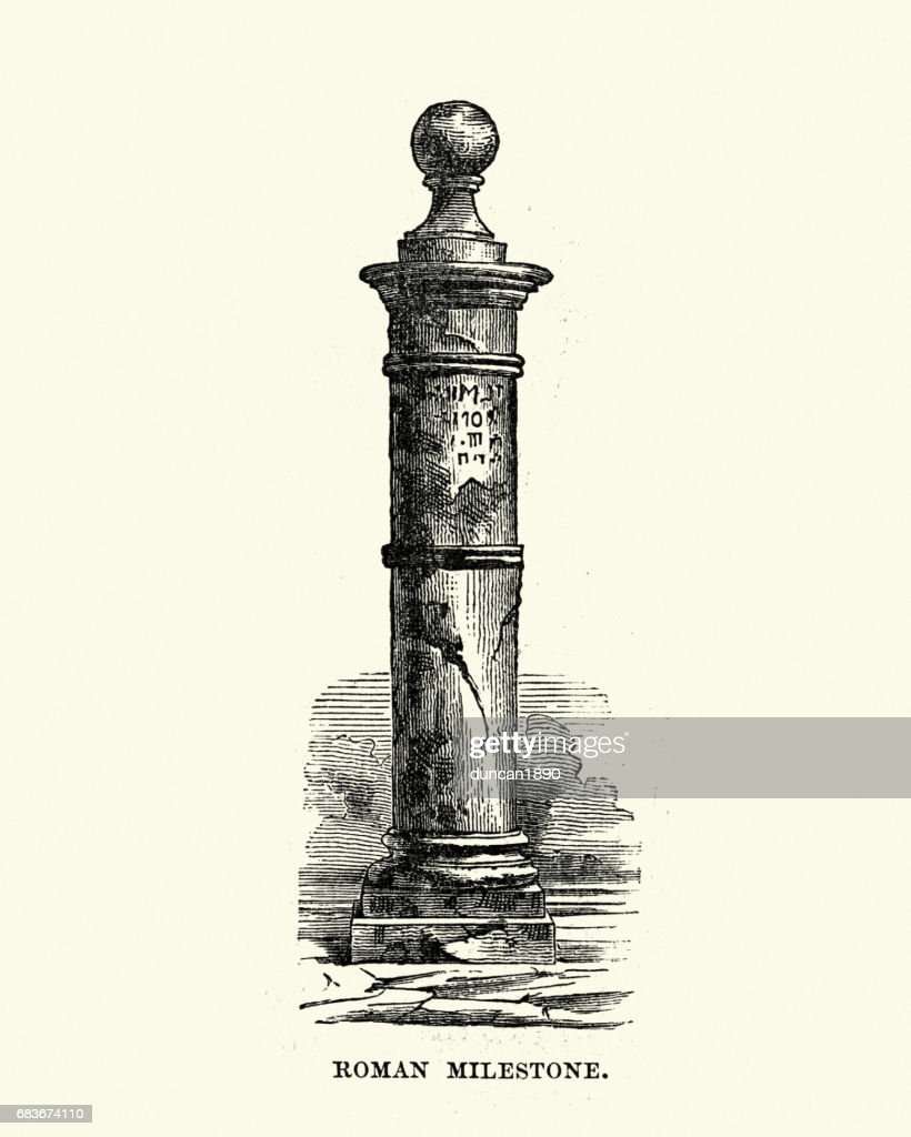 History of Ancient Rome - Roman Milestone : stock illustration