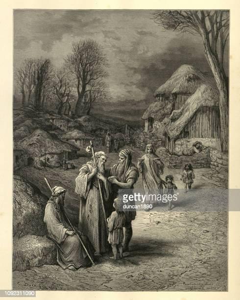 history of crusades, hospitality of barbarians to pilgrims - pilgrim stock illustrations, clip art, cartoons, & icons