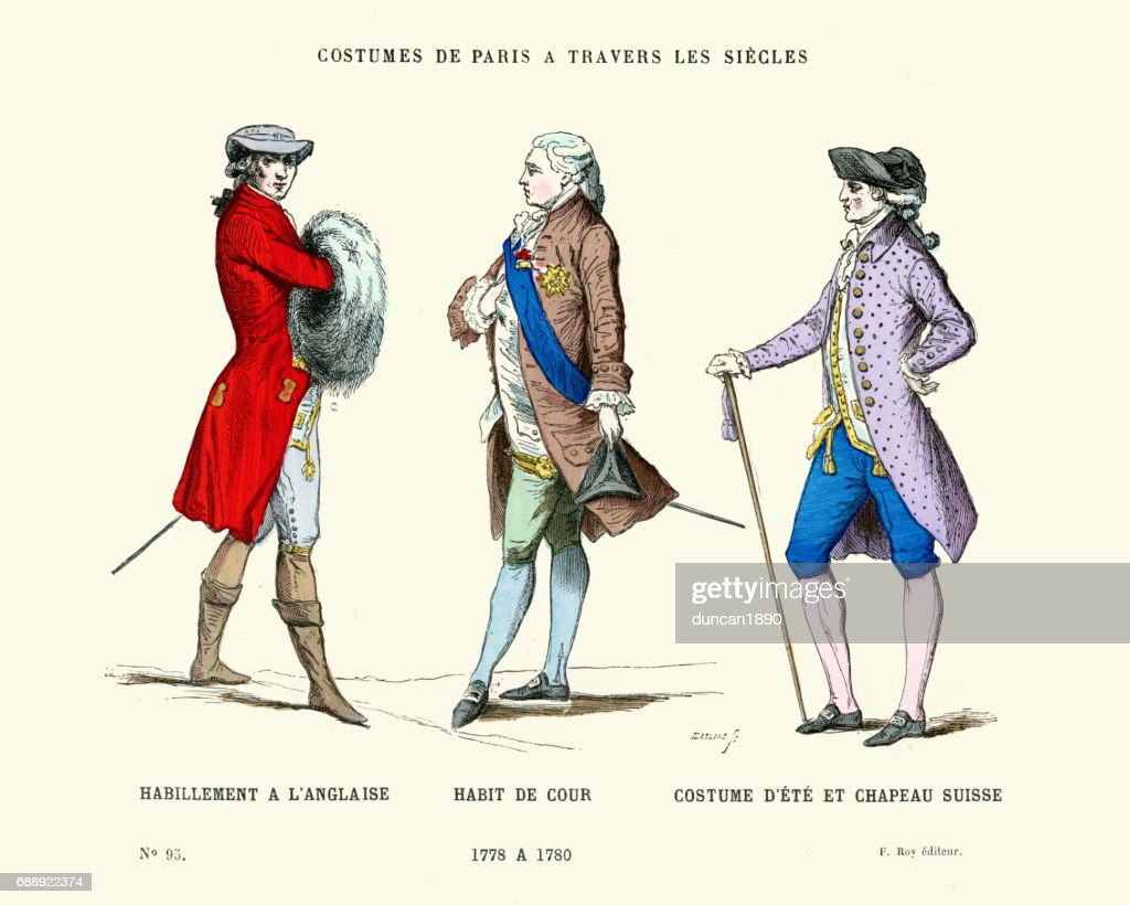 History of Fashion, 18th Century Gentlemen's Costumes : stock illustration
