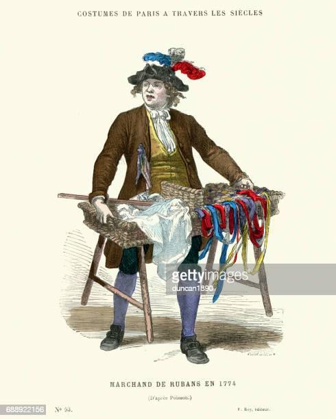 illustrations, cliparts, dessins animés et icônes de histoire de la mode, 18ème siècle marchande de rubans - marchand