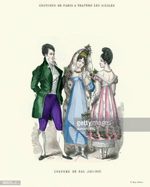 ファッション コスチューム ・ デ ・ バル 19 世紀初頭の歴史 - リージェンシー様式点のイラスト素材/クリップアート素材/マンガ素材/アイコン素材