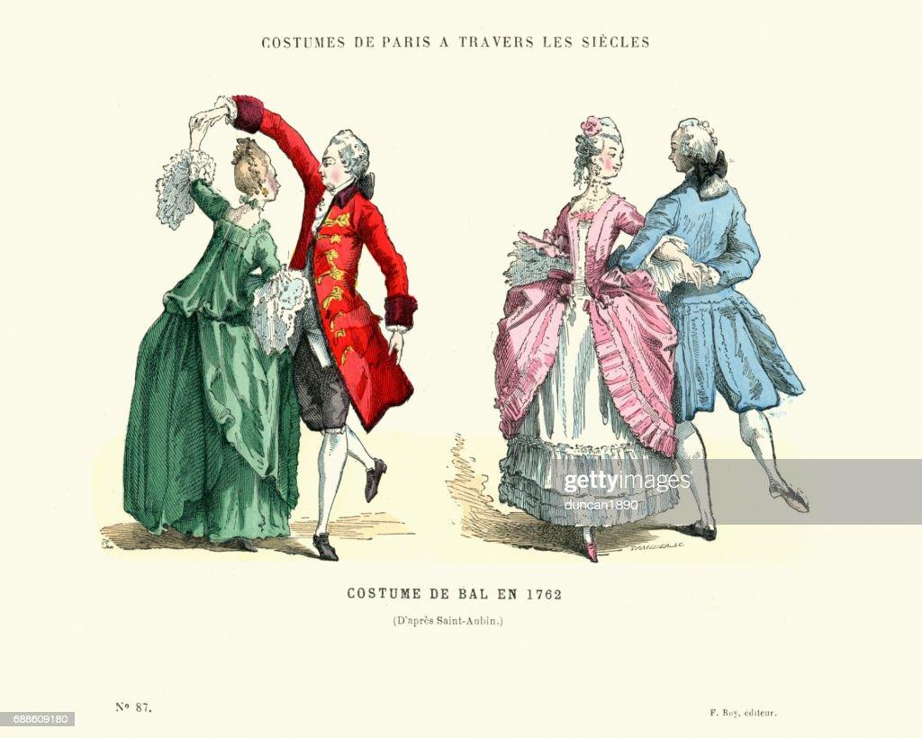 History of Fashion, French ballroom costumes, 1762 : stock illustration