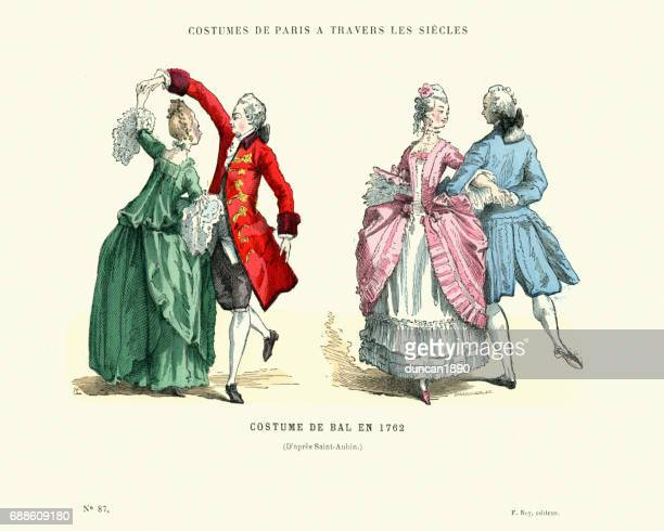 history of fashion, french ballroom costumes, 1762 - 18th century stock illustrations