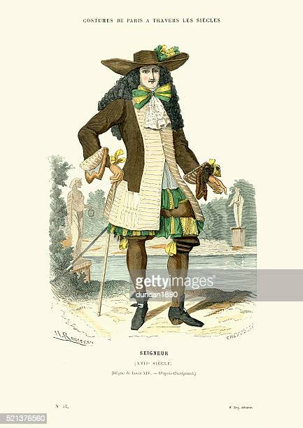 history of fashion - french lord of the 17th century - 17th century stock illustrations, clip art, cartoons, & icons