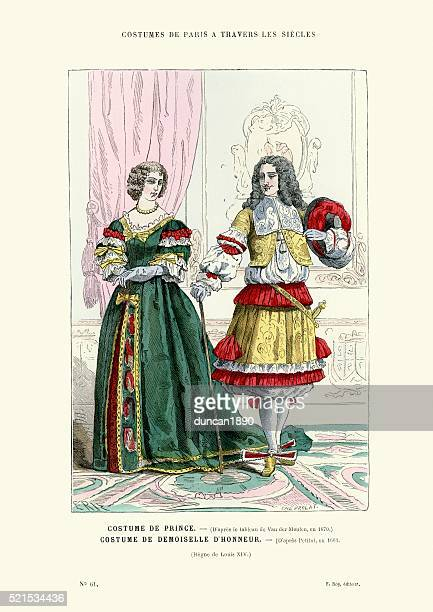 history of fashion - french prince and lady 17th century - 17th century stock illustrations, clip art, cartoons, & icons