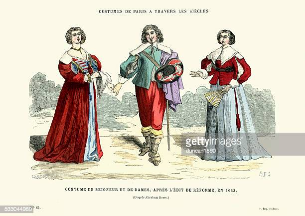 history of fashion - lord and ladies, 17th century - 17th century stock illustrations, clip art, cartoons, & icons