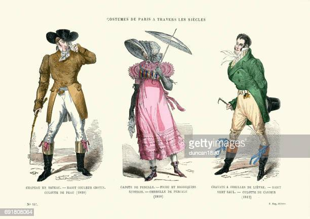 History of Fashion Mens and womens Costumes early 19th Century