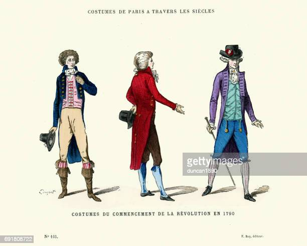 history of fashion mens costumes during the french revolution - waistcoat stock illustrations, clip art, cartoons, & icons