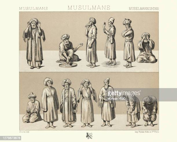 history of fashion, muslim men at prayers, 19th century - religious occupation stock illustrations