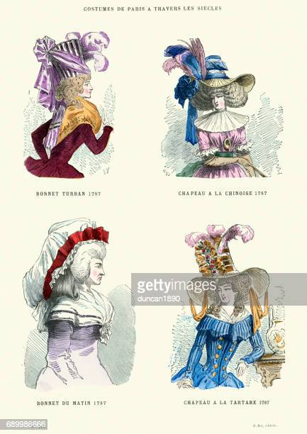 history of fashion, womens hats 18th century - bonnet stock illustrations, clip art, cartoons, & icons