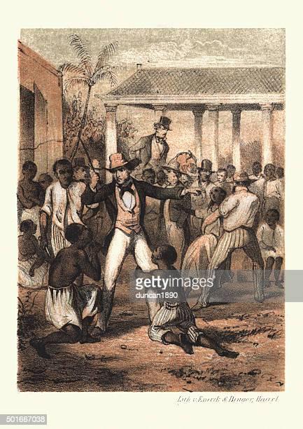ilustraciones, imágenes clip art, dibujos animados e iconos de stock de antecedentes de la esclavitud-plantation maestro en el mercado de esclavos - azotes