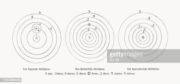 geschichte des zentrums des universums, holzschnitte, veröffentlicht 1893 - astronomie stock-grafiken, -clipart, -cartoons und -symbole
