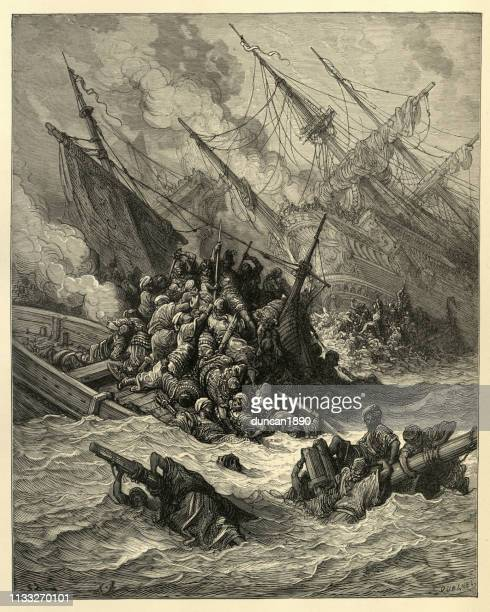 history of the crusades, battle of lepanto, 1571 - ottoman empire stock illustrations