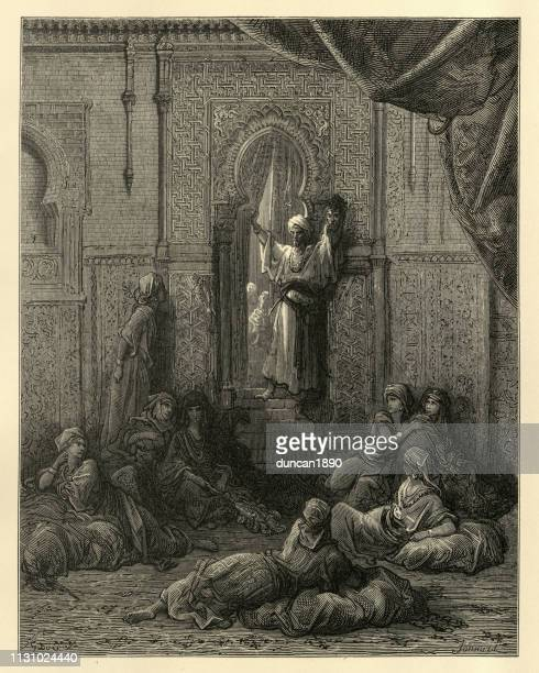 history of the crusades, emir's head shown in the seraglio - sultan stock illustrations