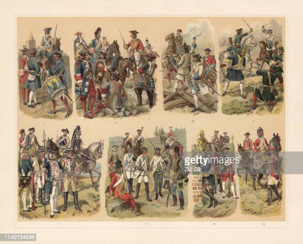 history of the military uniforms in europe, chromolithograph, published 1898 - cavalry stock illustrations