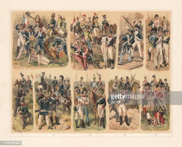 illustrations, cliparts, dessins animés et icônes de histoire des uniformes militaires en europe, chromolithographe, publié 1898 - guerres napoléoniennes