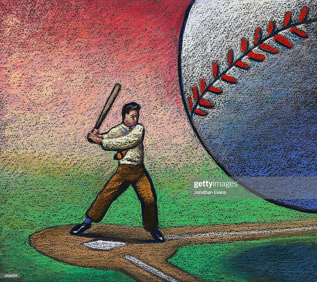 Hitting Giant Baseball : Stockillustraties