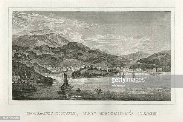 hobart town, van diemen's land (early 19th century engraving) - hobart tasmania stock illustrations