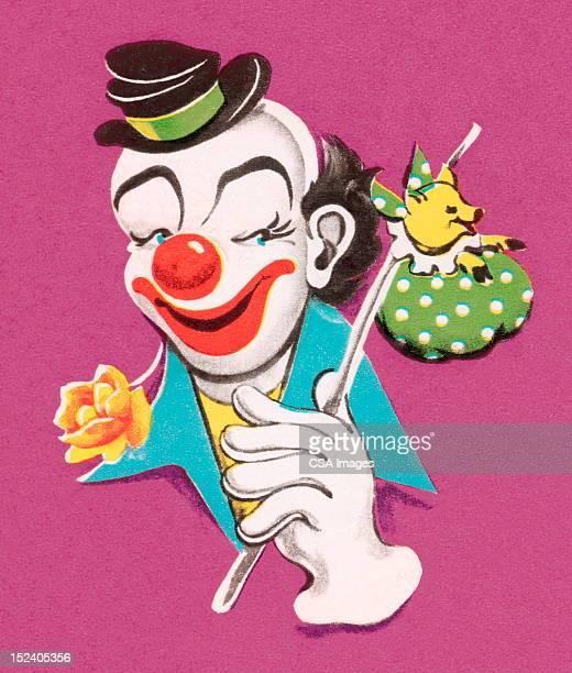 hobo clown - vagabond stock illustrations, clip art, cartoons, & icons