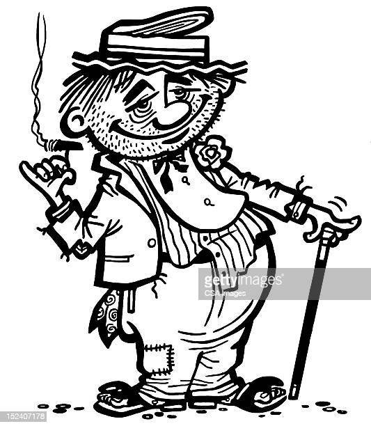 hobo smoking - vagabond stock illustrations, clip art, cartoons, & icons